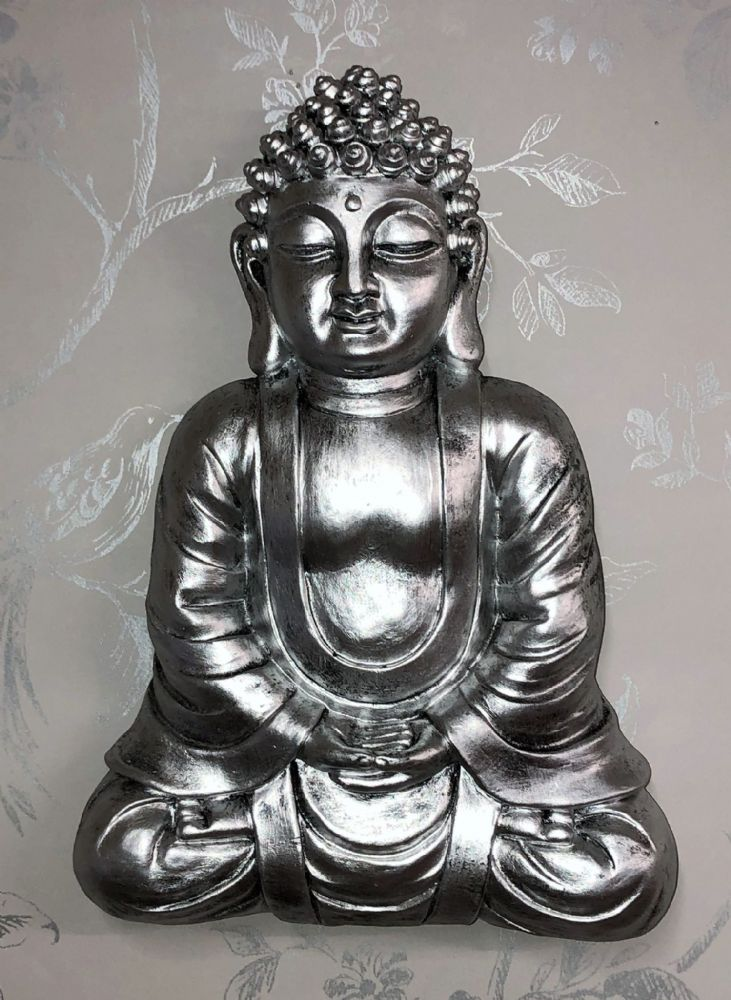 Pewter Effect Meditation Buddha  27cm Home | Garden Wall Art